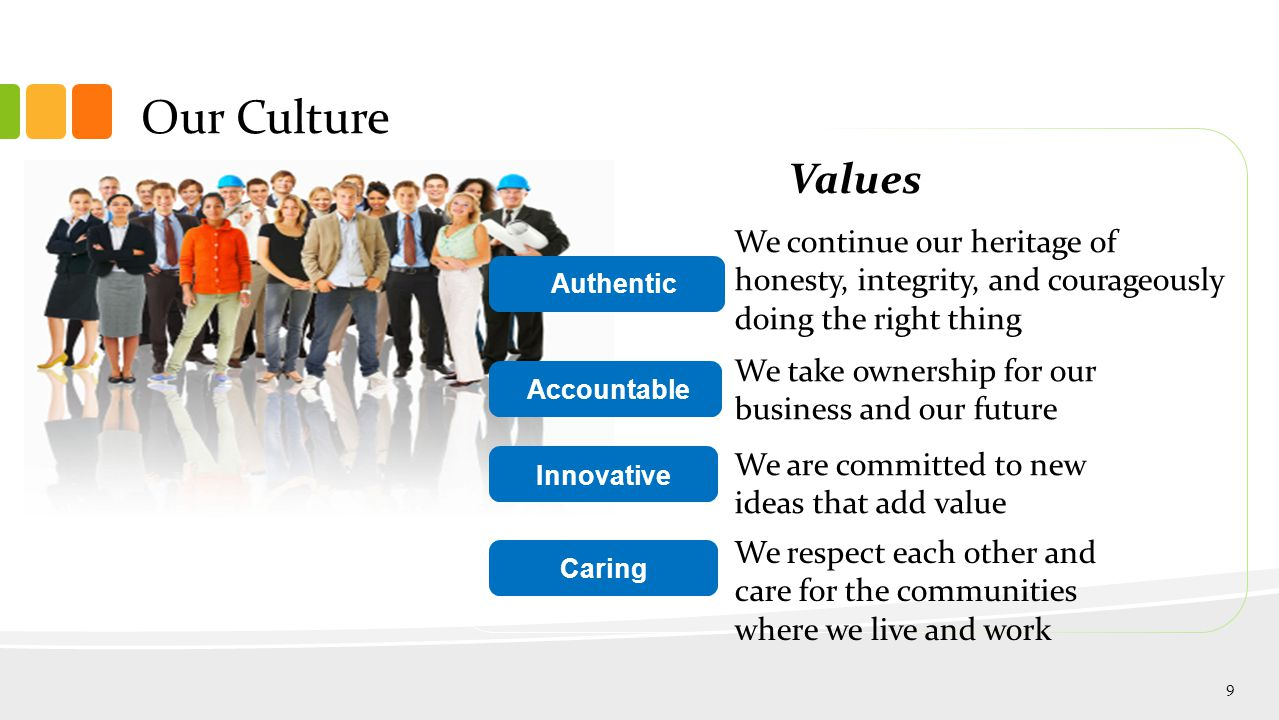 Authentic Accountable Innovative Caring Our Culture We continue our heritage of honesty, integrity, and courageously doing the right thing We take ownership for our business and our future We are committed to new ideas that add value We respect each other and care for the communities where we live and work Values 9