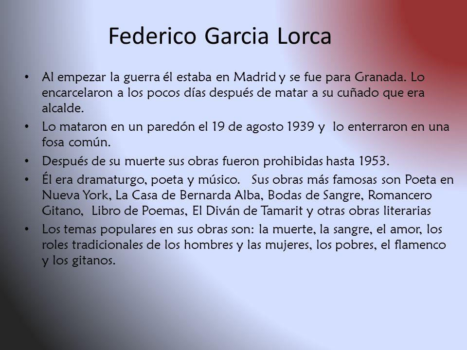 Federico Garcia Lorca Nació en Fuente Vaqueros En España en 1898.