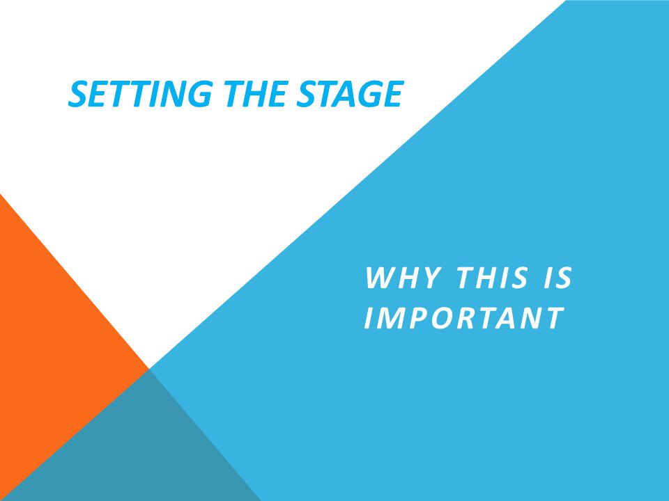 WHY THIS IS IMPORTANT SETTING THE STAGE