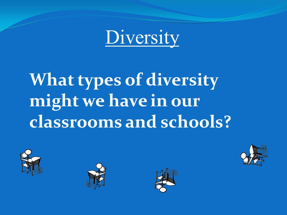 Diversity What types of diversity might we have in our classrooms and schools