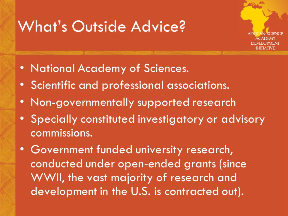 African Science Academy Development Initiative What's Outside Advice.