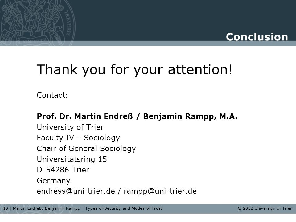 Conclusion Thank you for your attention. Contact: Prof.