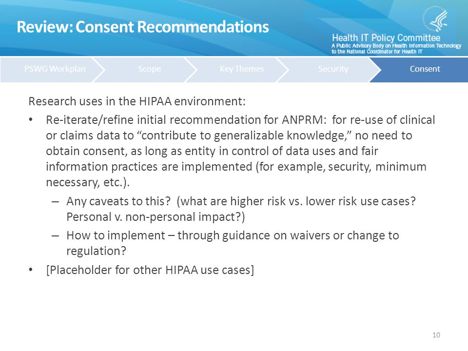 Review: Consent Recommendations Non-HIPAA Environment: When should consent be required.