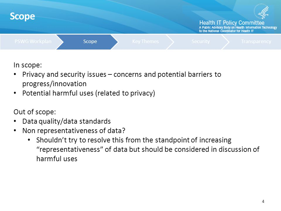 Key Themes 5 1.Concerns about tools commonly used to protect privacy A.De-identification B.Data Security in Health Big Data C.Patient consent v.