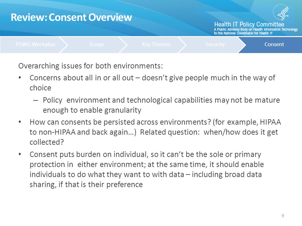 Review: Consent Recommendations Research uses in the HIPAA environment: Re-iterate/refine initial recommendation for ANPRM: for re-use of clinical or claims data to contribute to generalizable knowledge, no need to obtain consent, as long as entity in control of data uses and fair information practices are implemented (for example, security, minimum necessary, etc.).
