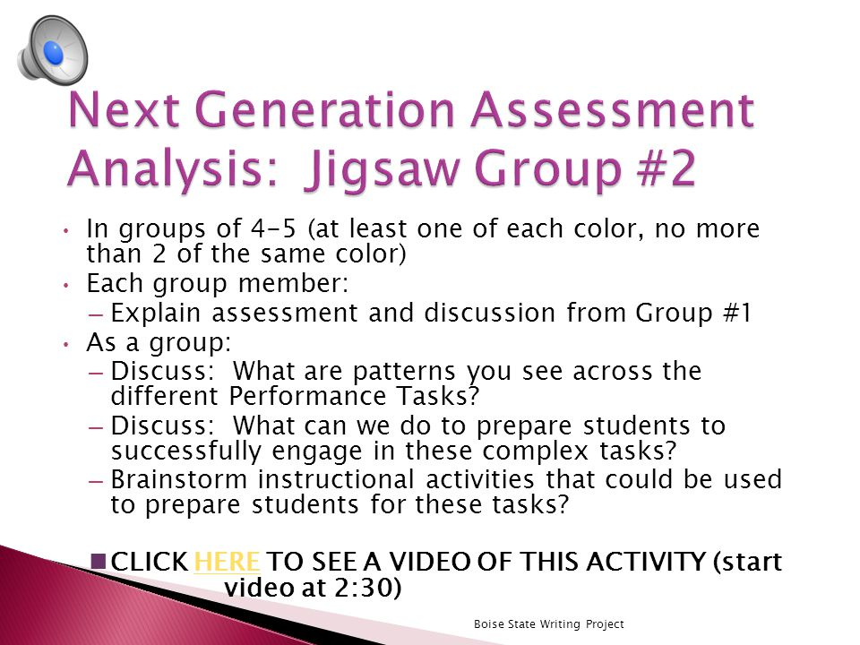 Work in groups of 3-4 at your table to examine the next generation performance task assessment example.