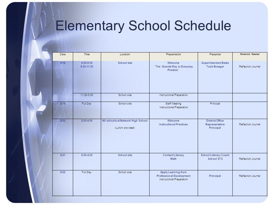 "Elementary School Schedule DateTimeLocationPresentationPresenter Materials Needed 8/18 8:00-9:30 9:30-11:30 School site Welcome ""The Granite Way in Ev"