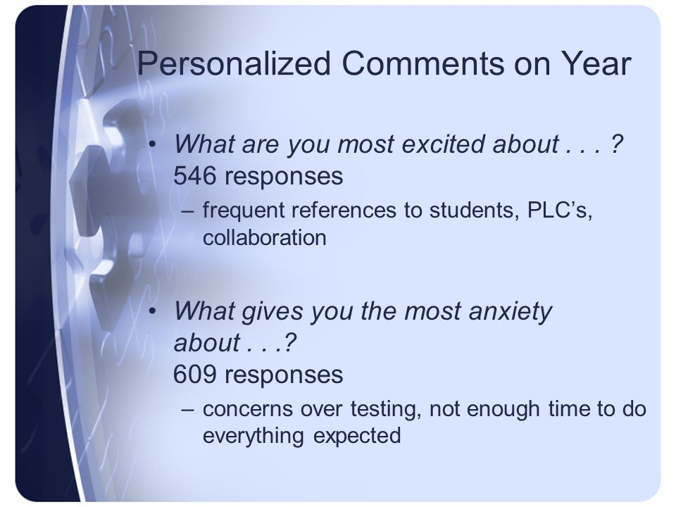 Personalized Comments on Year What are you most excited about...