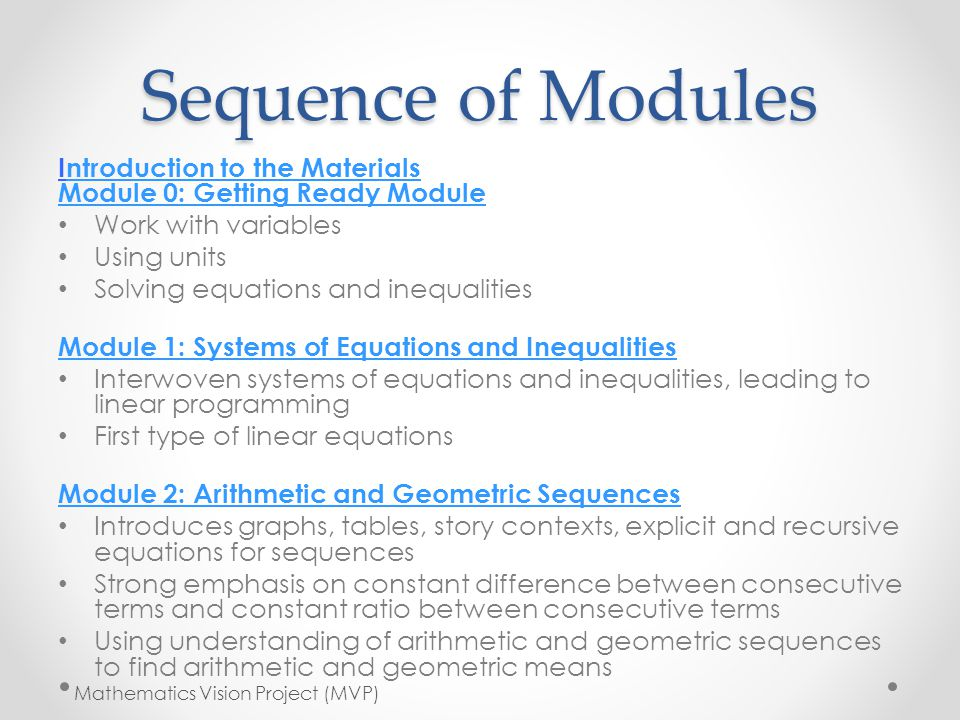 Sequence of Modules Introduction to the Materials Module 0: Getting Ready Modulentroduction to the Materials Module 0: Getting Ready Module Work with