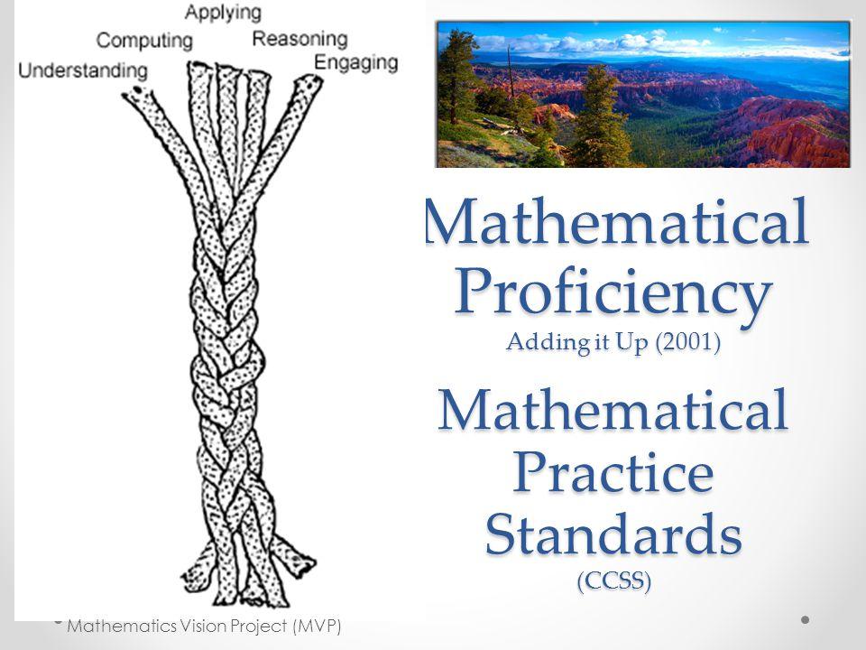 Mathematical Proficiency Adding it Up (2001) Mathematical Practice Standards (CCSS) Mathematics Vision Project (MVP)