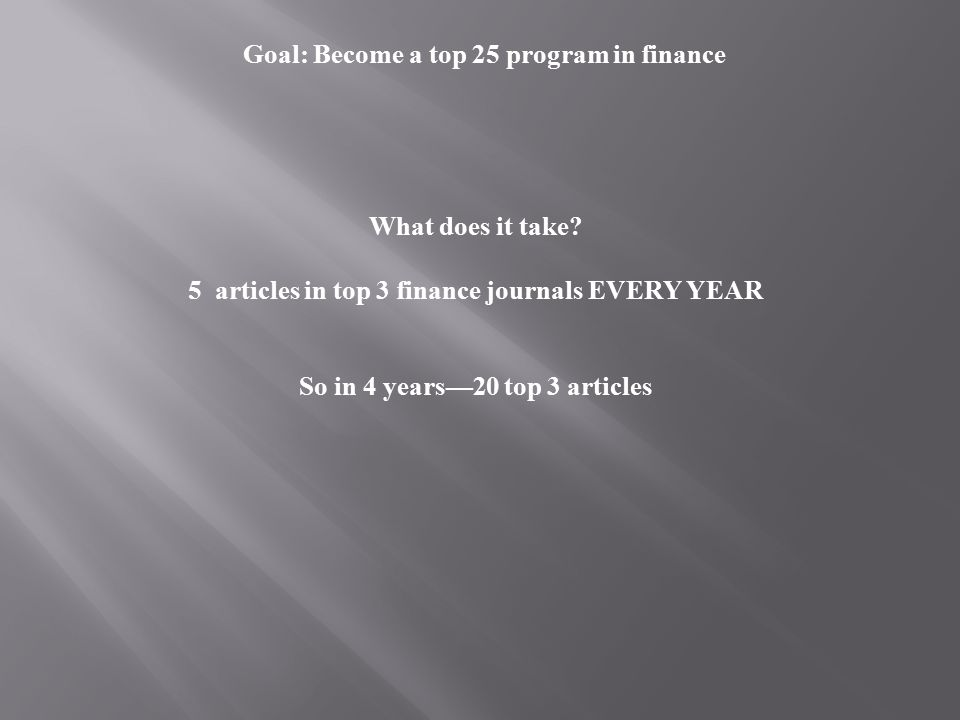 Goal: Become a top 25 program in finance What does it take.