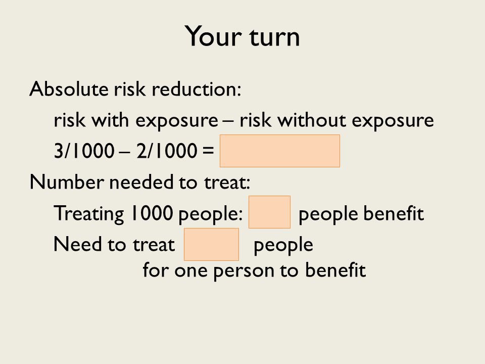 Your turn Absolute risk reduction: risk with exposure – risk without exposure 3/1000 – 2/1000 = 1/1000 Number needed to treat: Treating 1000 people: 1 people benefit Need to treat 1000 people for one person to benefit