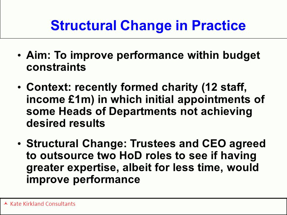 Structural Change in Practice Aim: To improve performance within budget constraints Context: recently formed charity (12 staff, income £1m) in which initial appointments of some Heads of Departments not achieving desired results Structural Change: Trustees and CEO agreed to outsource two HoD roles to see if having greater expertise, albeit for less time, would improve performance Kate Kirkland Consultants