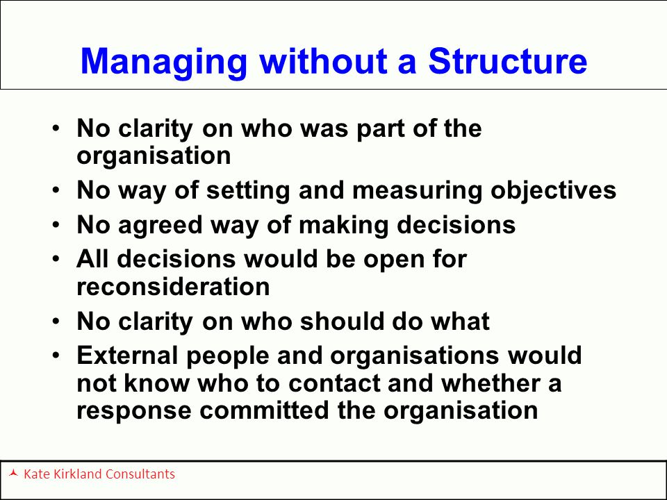 Managing without a Structure No clarity on who was part of the organisation No way of setting and measuring objectives No agreed way of making decisions All decisions would be open for reconsideration No clarity on who should do what External people and organisations would not know who to contact and whether a response committed the organisation Kate Kirkland Consultants