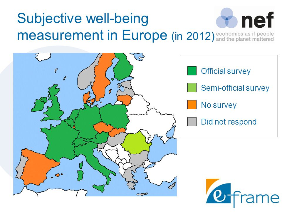Subjective well-being measurement in Europe (in 2012) Official survey Semi-official survey No survey Did not respond
