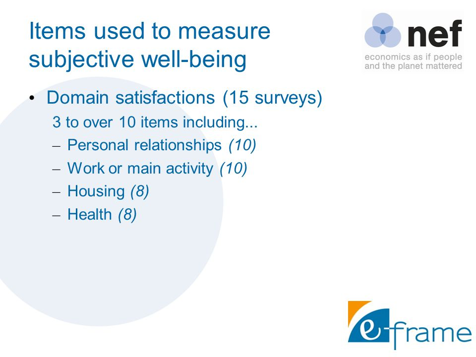 Items used to measure subjective well-being Domain satisfactions (15 surveys) 3 to over 10 items including...