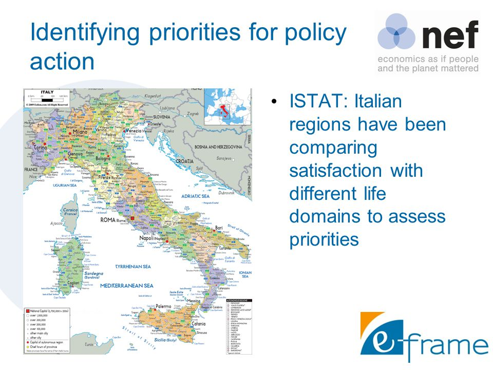 Identifying priorities for policy action ISTAT: Italian regions have been comparing satisfaction with different life domains to assess priorities