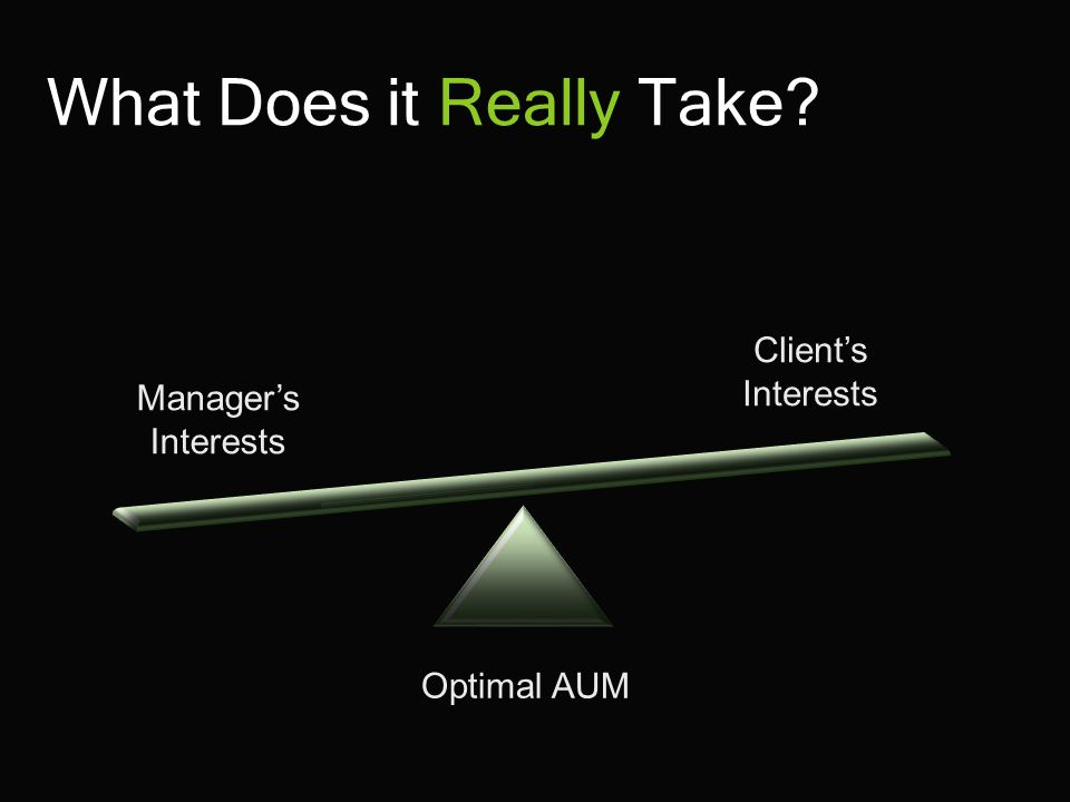 What Does it Really Take Optimal AUM Manager's Interests Client's Interests