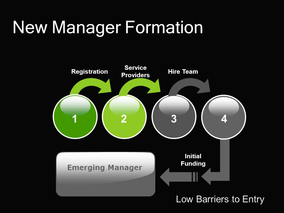 1 2 34 Registration Service Providers Hire Team Initial Funding Emerging Manager Low Barriers to Entry New Manager Formation