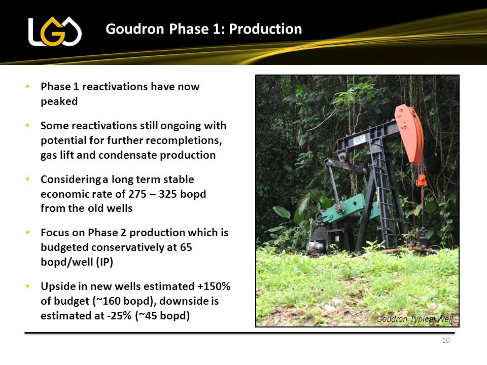 10 Phase 1 reactivations have now peaked Some reactivations still ongoing with potential for further recompletions, gas lift and condensate production Considering a long term stable economic rate of 275 – 325 bopd from the old wells Focus on Phase 2 production which is budgeted conservatively at 65 bopd/well (IP) Upside in new wells estimated +150% of budget (~160 bopd), downside is estimated at -25% (~45 bopd) Goudron Phase 1: Production Goudron Typical Well