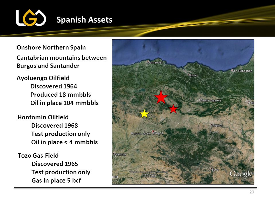 20 Spanish Assets Onshore Northern Spain Cantabrian mountains between Burgos and Santander Ayoluengo Oilfield Discovered 1964 Produced 18 mmbbls Oil in place 104 mmbbls Hontomin Oilfield Discovered 1968 Test production only Oil in place < 4 mmbbls Tozo Gas Field Discovered 1965 Test production only Gas in place 5 bcf