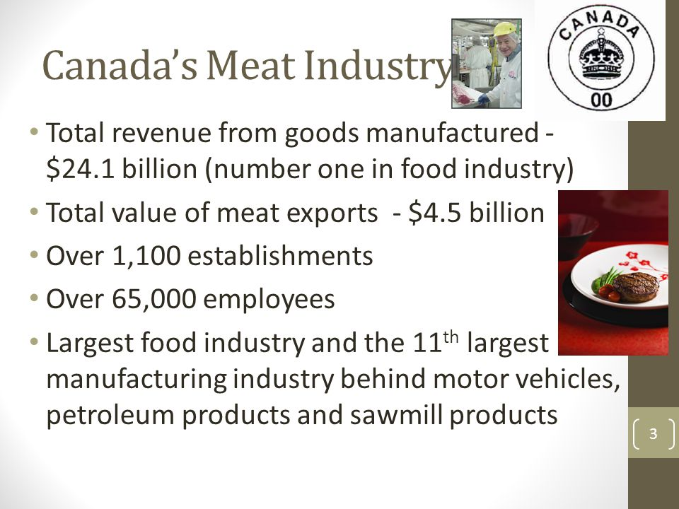 Canada's Meat Industry Total revenue from goods manufactured - $24.1 billion (number one in food industry) Total value of meat exports - $4.5 billion Over 1,100 establishments Over 65,000 employees Largest food industry and the 11 th largest manufacturing industry behind motor vehicles, petroleum products and sawmill products 3