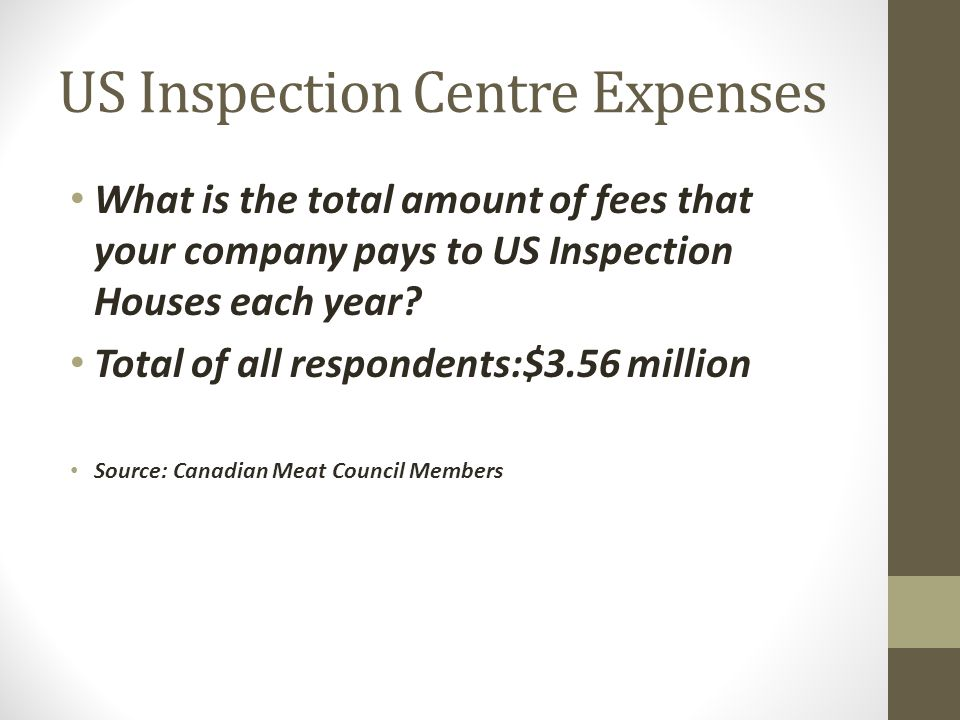 US Inspection Centre Expenses What is the total amount of fees that your company pays to US Inspection Houses each year.