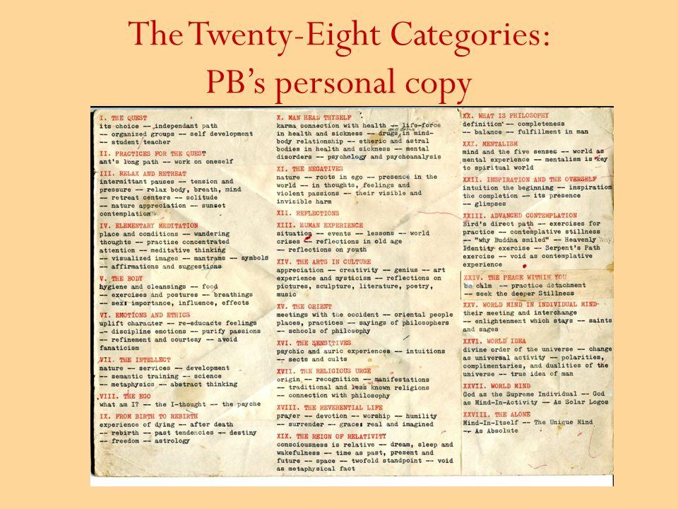 The Twenty-Eight Categories: PB's personal copy