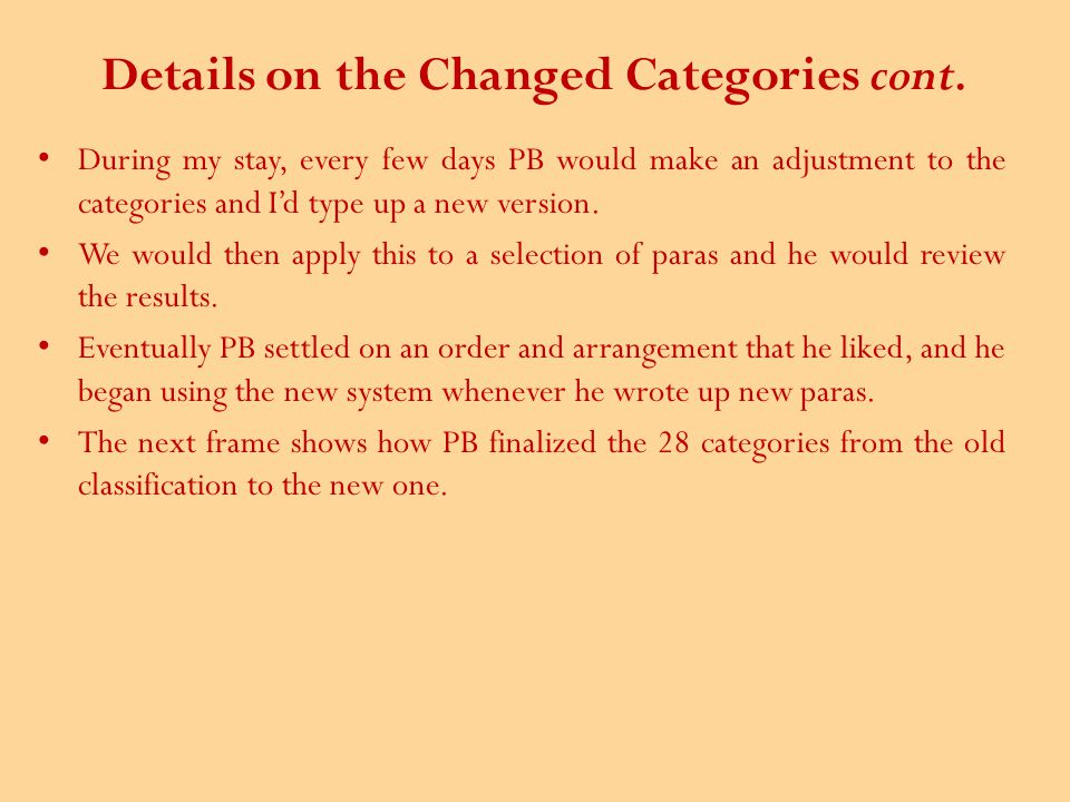 Details on the Changed Categories cont.