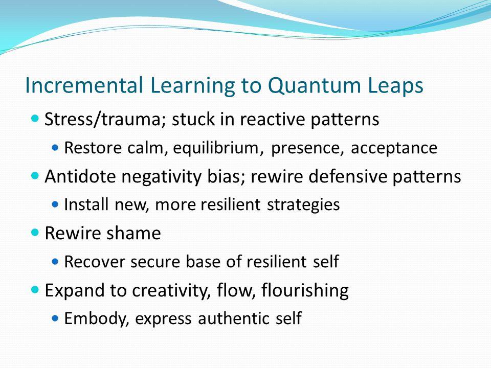 Incremental Learning to Quantum Leaps Stress/trauma; stuck in reactive patterns Restore calm, equilibrium, presence, acceptance Antidote negativity bi