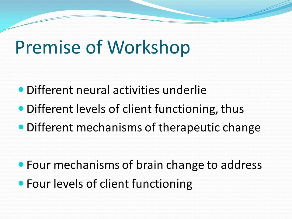 Premise of Workshop Different neural activities underlie Different levels of client functioning, thus Different mechanisms of therapeutic change Four