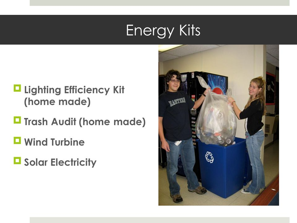 Energy Kits Lighting Efficiency Kit (home made) Trash Audit (home made) Wind Turbine Solar Electricity