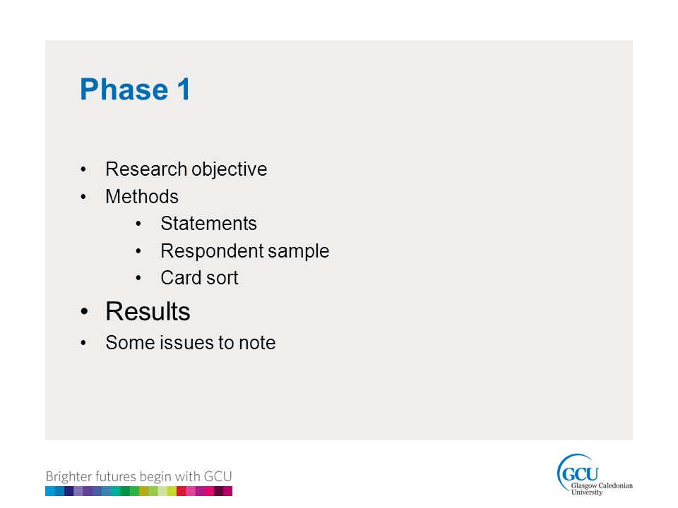 Phase 1 Research objective Methods Statements Respondent sample Card sort Results Some issues to note