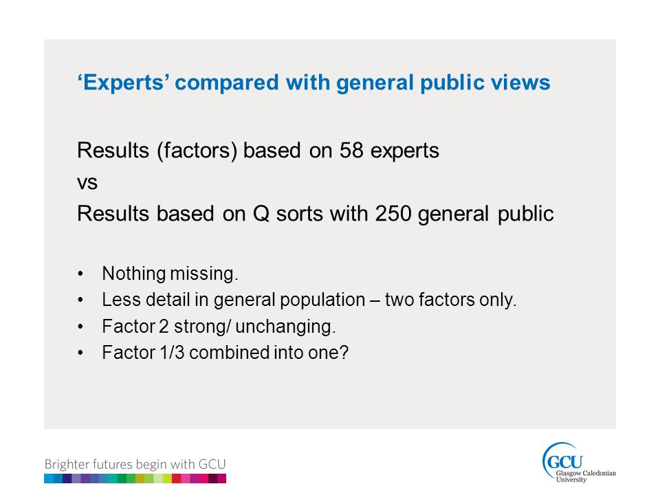 'Experts' compared with general public views Results (factors) based on 58 experts vs Results based on Q sorts with 250 general public Nothing missing.