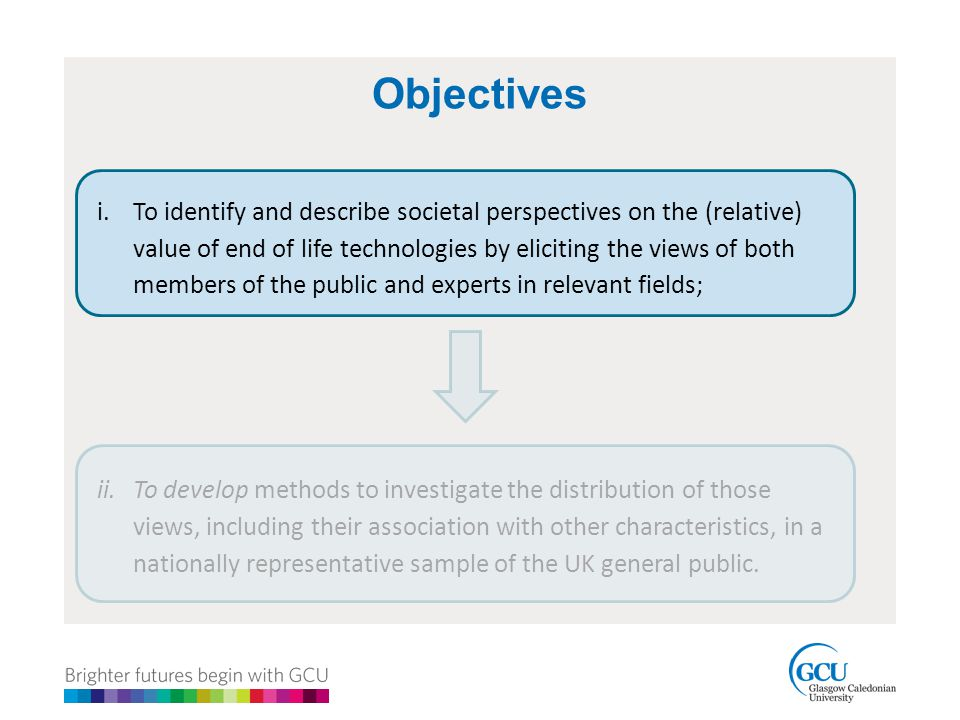 Objectives i.To identify and describe societal perspectives on the (relative) value of end of life technologies by eliciting the views of both members of the public and experts in relevant fields; ii.To develop methods to investigate the distribution of those views, including their association with other characteristics, in a nationally representative sample of the UK general public.