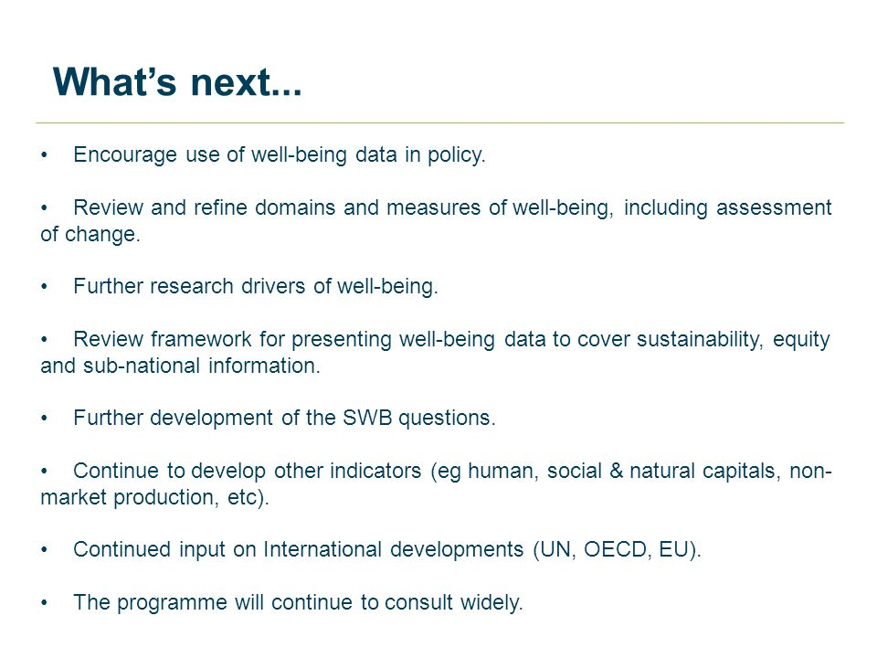 What's next... Encourage use of well-being data in policy.
