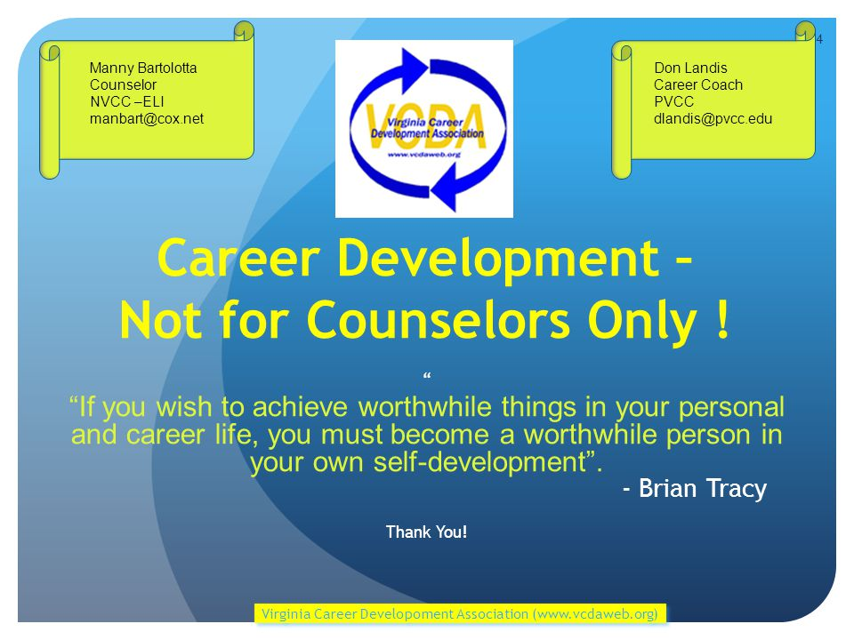 Career Development – Not for Counselors Only .