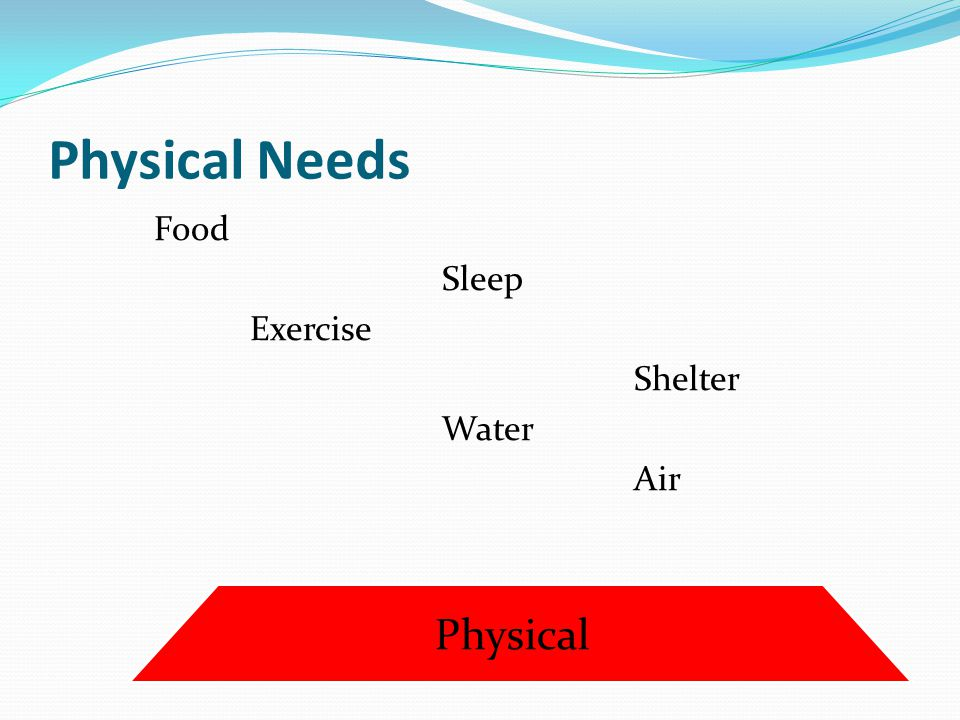 Physical Needs Food Sleep Exercise Shelter Water Air Physical