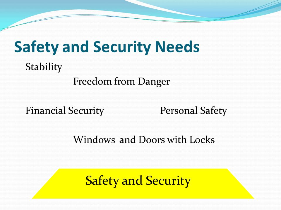 Safety and Security Needs Stability Freedom from Danger Financial Security Personal Safety Windows and Doors with Locks Safety and Security