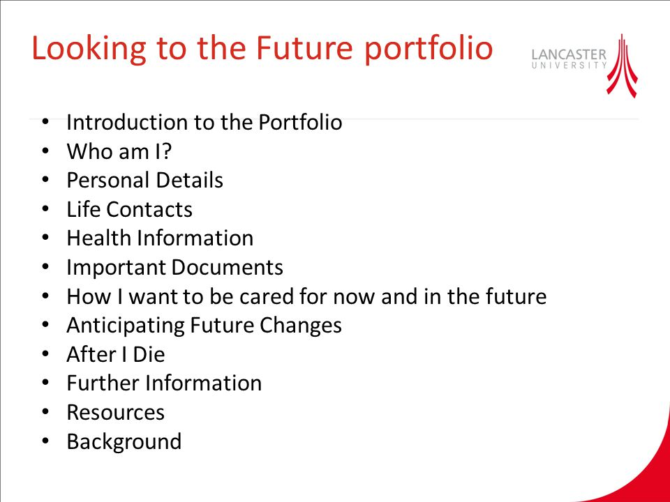 Looking to the Future portfolio Introduction to the Portfolio Who am I.