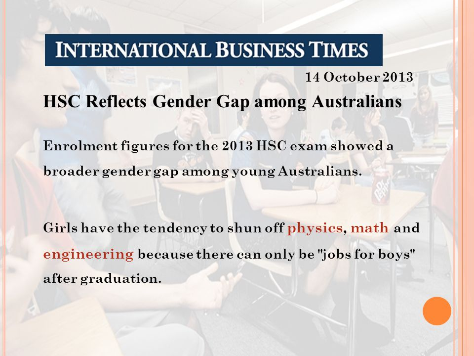 HSC Reflects Gender Gap among Australians Enrolment figures for the 2013 HSC exam showed a broader gender gap among young Australians. Girls have the