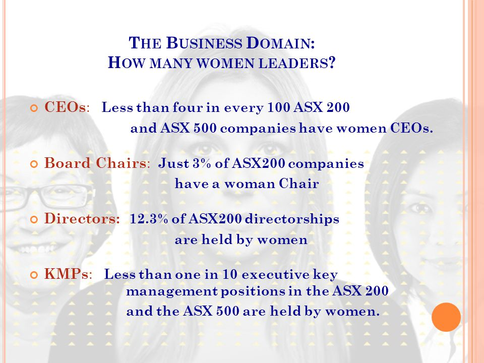 T HE B USINESS D OMAIN : H OW MANY WOMEN LEADERS ? CEOs : Less than four in every 100 ASX 200 and ASX 500 companies have women CEOs. Board Chairs : Ju