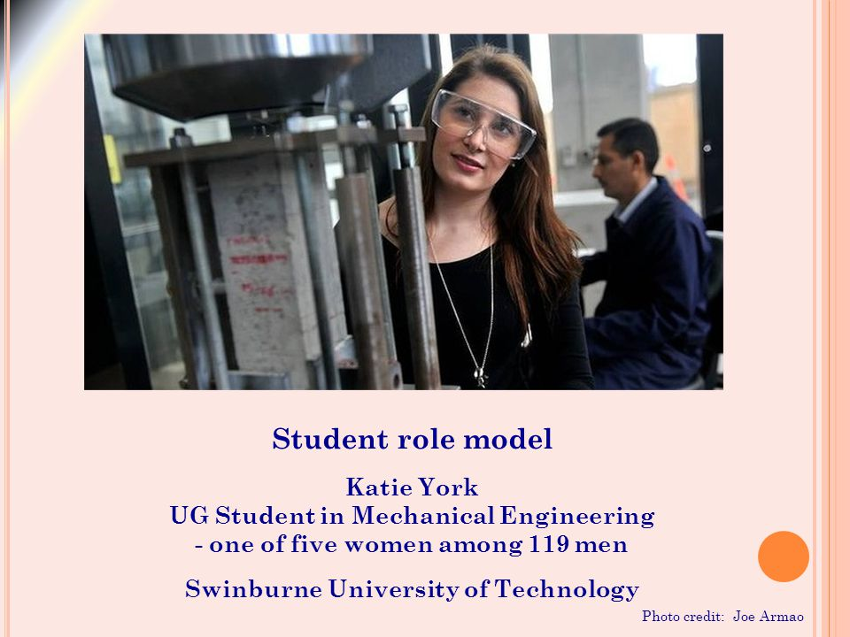 Student role model Katie York UG Student in Mechanical Engineering - one of five women among 119 men Swinburne University of Technology Photo credit: Joe Armao