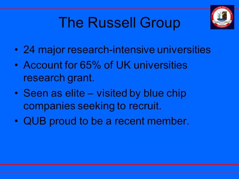 The Russell Group 24 major research-intensive universities Account for 65% of UK universities research grant. Seen as elite – visited by blue chip com