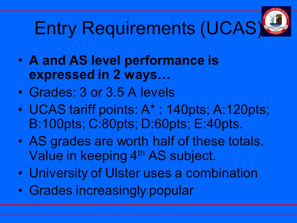 Entry Requirements (UCAS) A and AS level performance is expressed in 2 ways… Grades: 3 or 3.5 A levels UCAS tariff points: A* : 140pts; A:120pts; B:10