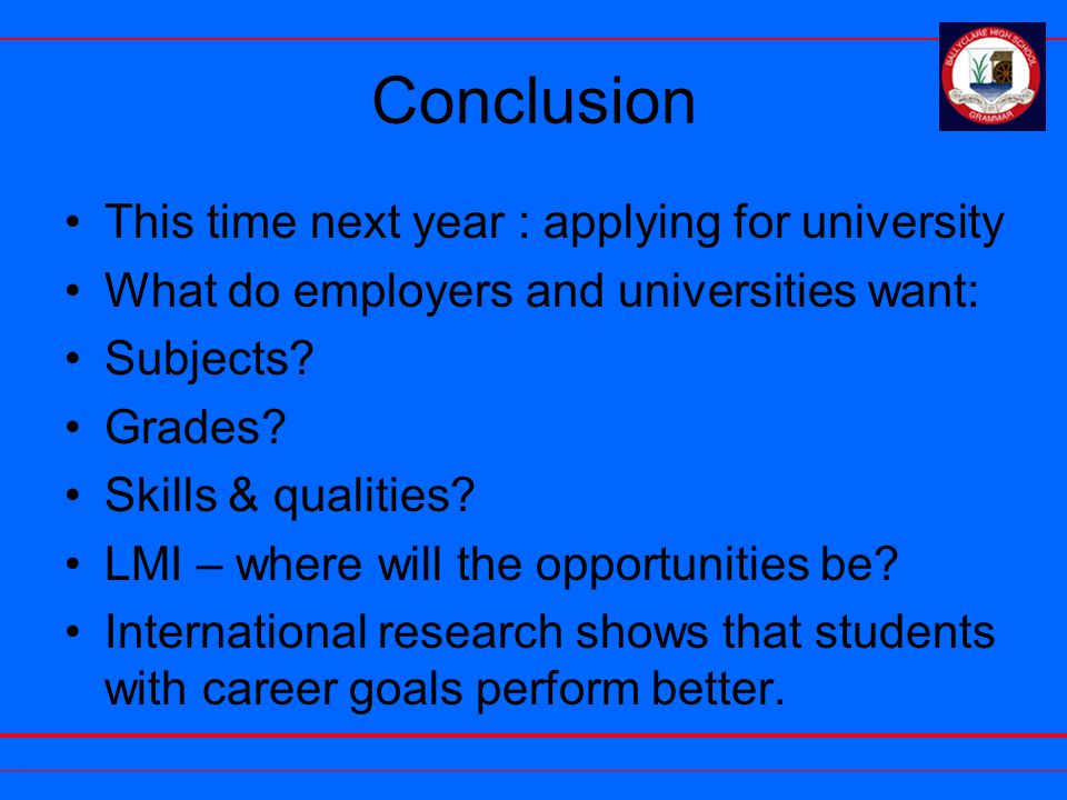 Conclusion This time next year : applying for university What do employers and universities want: Subjects.