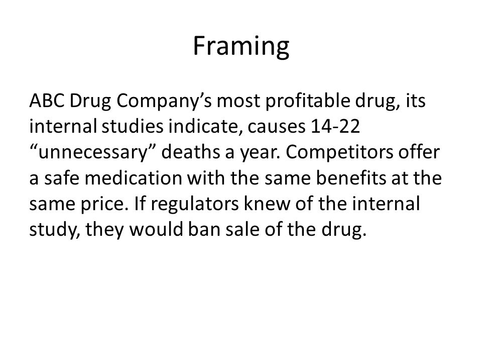 Framing ABC Drug Company's most profitable drug, its internal studies indicate, causes 14-22 unnecessary deaths a year.