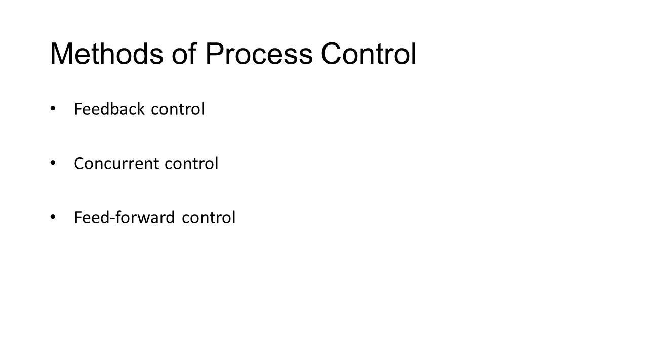 Methods of Process Control Feedback control Concurrent control Feed-forward control