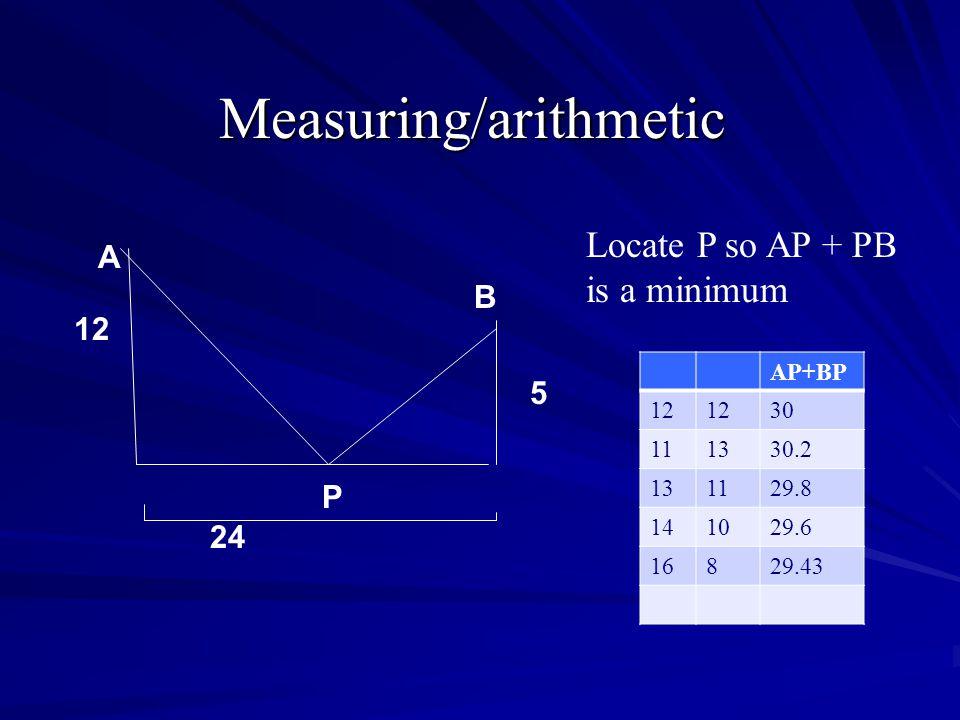 Using algebra 12 5 24 P Locate P so AP + PB is a minimum A B
