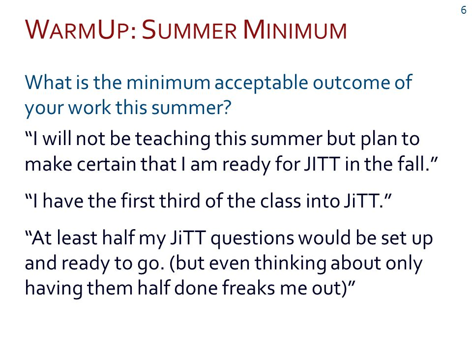 """W ARM U P : S UMMER M INIMUM 6 What is the minimum acceptable outcome of your work this summer? """"I will not be teaching this summer but plan to make c"""